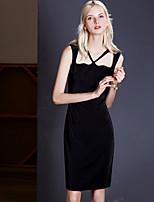 MASKED QUEEN Women's Going out Sexy / Simple Sheath DressSolid V Neck Above Knee Sleeveless Black Polyester