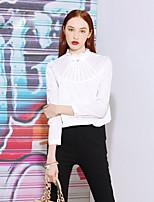 Tee-shirt Femme,Couleur Pleine Sortie Vintage Printemps / Automne Manches Longues Col Ras du Cou Blanc / NoirCoton / Polyester / Nylon /