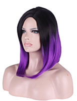 ярко черный фиолетовый два тона цвета прямые средней длины синтетические парики для европейских и американских женщин натуральные парики