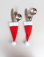 12 Pcs Christmas Ornaments Christmas Cap Knife Fork Bags  6*13cm