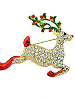 Christmas Rhinestone Deer Shape Brooches