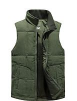 Пальто Простое Обычная Пуховик Мужчины,Однотонный На каждый день Полиэстер Пух белой утки,Без рукавов Синий / Зеленый