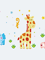 Cartoon Giraffe Animals Hippo Wall Stickers PVC Fashion Children's Bedroom Living Room Wall Decals