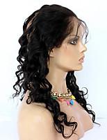 360 Лобовой Свободные волны Человеческие волосы закрытие Умеренно-коричневый Французское кружево 75g-95g грамм Средние Размер крышки