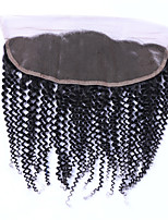 4x13 Fermeture Kinky Curly Cheveux humains Fermeture Brun roux Dentelle Suisse 100 gramme Moyenne Cap Taille