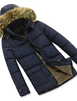 Men's Regular Padded Coat,Simple Casual/Daily Solid-Polyester Polyester Long Sleeve Hooded Blue