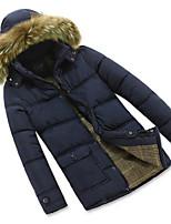 Пальто Простое Обычная На подкладке Мужчины,Однотонный На каждый день Полиэстер Полиэстер,Длинный рукав Капюшон Синий