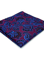 Mens Pocket Square Hanky Handkerchief Purple Paisley 100% Silk For Men Wedding