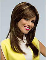 Natural Looking Fashion Daily Wearing Wigs for European and American Ladies Meddile Length Brown Straight Synthetic Wigs