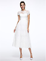 Lanting Bride® A-라인 웨딩 드레스 종아리 길이 하이 넥 레이스 와 아플리케