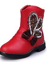 לבנות-מגפיים-דמוי עור PU-נוחות-שחור ורוד אדום-שמלה יומיומי-עקב שטוח