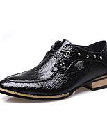 Черный Бордовый-Мужской-Повседневный-Полиуретан-На низком каблуке-Удобная обувь-Туфли на шнуровке