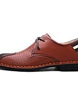 Черный / Коричневый / Телесный-Мужской-На каждый день-КожаУдобная обувь-Туфли на шнуровке