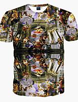 Herren Druck Einfach / Boho / Aktiv Ausgehen / Strand / Urlaub T-shirt,Rundhalsausschnitt Frühling / Sommer Kurzarm Schwarz Polyester