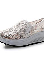 נשים-נעליים ללא שרוכים-קנבס-פלטפורמה-כחול / אדום-קז'ואל-עקב שטוח