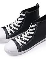 Черный Белый-Женский-Для прогулок Повседневный Для занятий спортом-Полотно-На плоской подошве-Другое-Кеды