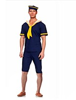 Cosplay Costumes Party Costume Soldier/Warrior Sailor/Navy Career Costumes Festival/Holiday Halloween Costumes Blue Print Dress Headwear