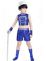 children's DJ costumes boys hip-hop jazz dance clothing blue/black