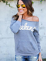 Women's Casual/Daily Sexy / Simple Backless Regular HoodiesLetter Gray Boat Neck Long Sleeve Spring / Fall Medium Micro-elastic