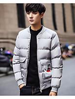 Пальто Простое Обычная На подкладке Мужчины,Однотонный На каждый день Хлопок Полиэстер,Длинный рукав Серый