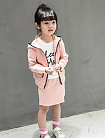 Girl's Going out Solid Blouse / Skirt / Clothing SetCotton Spring / Fall Blue / Pink