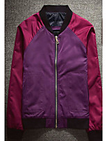 Men's Casual/Daily Simple Jackets,Solid Stand Long Sleeve Fall Orange / Purple Others Medium