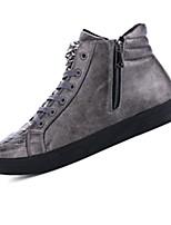 Черный / Красный / Серебристый-Мужской-На каждый день-Полиуретан-На плоской подошве-Удобная обувь-Кеды