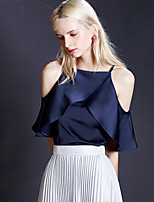 Chemisier Femme,Couleur Pleine Sortie simple Eté Manches Courtes A Bretelles Bleu / Blanc Polyester Opaque