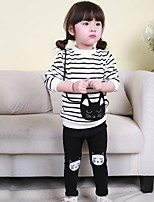 Girl's Casual/Daily Striped Clothing SetCotton Fall White / Gray