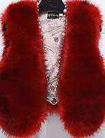 Женский На каждый день Однотонный Пальто с мехом V-образный вырез,Простое Осень / Зима Красный / Бежевый / Черный / Серый / ФиолетовыйБез