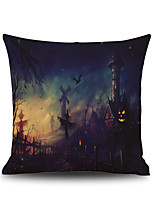 Halloween Night Oil Painting Square Linen  Decorative Throw Pillow Case Kawaii Cushion Cover