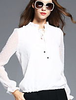 BOMOVO Women's Stand Long Sleeve T Shirt White-B16QB10