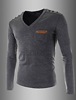 Men's Casual/Daily Simple Spring / Fall T-shirtSolid V Neck Long Sleeve White / Black / Gray Cotton Medium