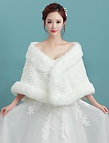 Women's Wrap Capelets Sleeveless Faux Fur Ivory Wedding / Party/Evening Fold-over Collar 34cm Pattern Open Front