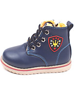 Girl's Boots Winter Comfort PU Outdoor / Casual Flat Heel Lace-up Black / Blue / Red Walking