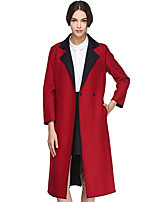 CANTO MOTTO Women's Going out Simple CoatSolid Notch Lapel Long Sleeve Fall Red Wool / Polyester Opaque