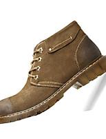 Коричневый Хаки-Мужской-Повседневный-Замша-На плоской подошве-Удобная обувь-Кеды