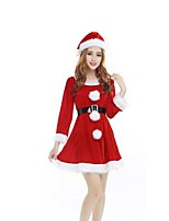 Christmas Cotume /Holiday Halloween Costumes Red Solid Skirt / Belt / Hats Christmas Female