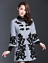 AINIER Women's Casual/Daily Simple CoatJacquard Round Neck Long Sleeve Fall Gray Wool / Polyester Medium