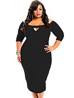 Women's Plus Size Bodycon 3/4 Length Sleeve with Keyhole