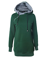 Women's Casual/Daily Simple Long Hoodies,Solid Blue / Black / Green Hooded Long Sleeve Cotton Fall / Winter Thick Stretchy
