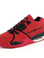 Hombre-Tacón Plano-Confort-Zapatillas de deporte-Informal-Tul Microfibra-Negro Rojo Blanco