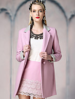 I'HAPPY Women's Going out Street chic CoatSolid Notch Lapel Long Sleeve Spring / Fall Blue / Green / Yellow / Purple