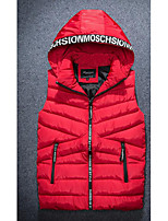 Men's Casual/Daily Simple Coat,Solid Sleeveless Winter Blue / Red / Black / Gray / Orange Polyester