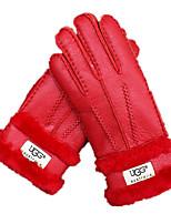 меховые перчатки (красный)