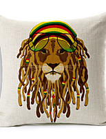 Polyester Decorative Cushion Pillow Cover Print Animal Lion Sofa Home Decor 45x45cm