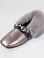 Women's Flats Fall Winter Comfort PU Fur Casual Flat Heel Black Red Gray Walking