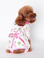 Dog Sweatshirt Pajamas Yellow Blue Pink Dog Clothes Winter Spring/Fall Cartoon Cute Casual/Daily
