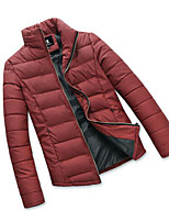 Men's Regular Padded Coat,Simple Casual/Daily Solid-Polyester Polypropylene Long Sleeve Stand Red