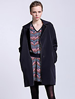 CARBAMMI  Women's Going out Simple Trench CoatSolid Notch Lapel Long Sleeve Fall Blue / Brown Polyester Opaque